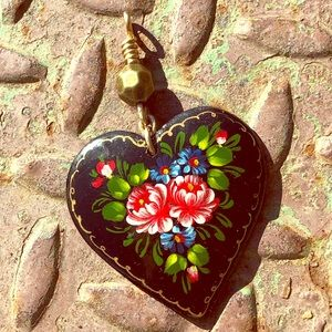 Up-cycled Wooden Hand Painted Heart Pendant